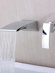 Contemporary Wall-mounted Waterfall Chrome Finish Curve Spout Bathroom Faucet
