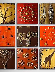 dipinto a mano olio su tela con telaio allungato animali - set di 9