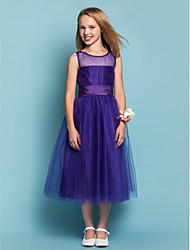 Dress A-line / Princess Jewel Tea-length Tulle with Ruching