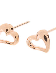 Rose Gold Hollow Asymmetric Heart Stud Earrings