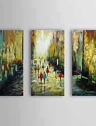 Handgemaltes Ölgemälde Menschen zu Fuß in der Straße mit gestreckten Rahmen von 3 1309-PE1023 Set