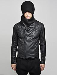 Men's stand collar slopping zipper stylish pu jacket