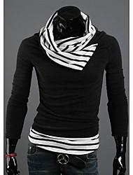 Tela Algodão Cor-Nylon Contraste Cor Skinny Stripe Sweater Homens midoo