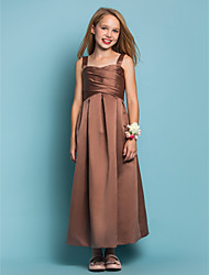 LAN TING BRIDE Ankle-length Satin Junior Bridesmaid Dress Sheath / Column Straps Natural with Criss Cross