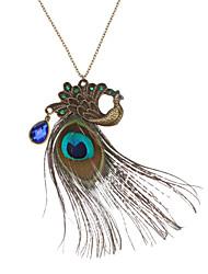 Colliers Tendance Pendentif de collier Colliers Vintage Bijoux Quotidien Cuivre Strass Plume Femme Cadeau Cuivré