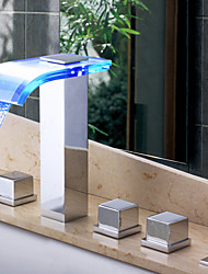 Contemporary LED Waterfall Wall-mounted Glass Spout Bathroom Faucet with Hand Shower