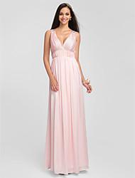 Floor-length Charmeuse Bridesmaid Dress - Blushing Pink Plus Sizes / Petite Sheath/Column V-neck