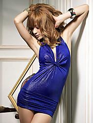 Sexy profondo scollo a V backless pieghe mini abito delle donne