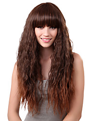 Capless Long Synthetic Light Brown Straight Hair Wig Full Bang