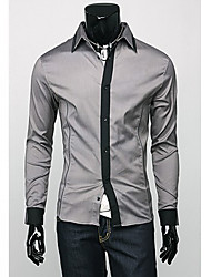 Men's Solid Casual Shirt,Cotton Blend Long Sleeve Black / White / Gray