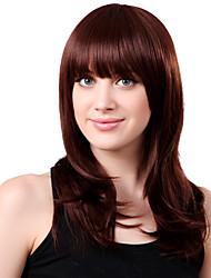 Capless Long Synthetic Red Wavy Hair Wig Full Bang