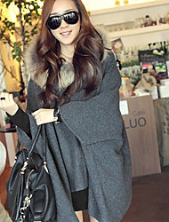 Women's Fur Collar Loose Hooded Woolen Cape