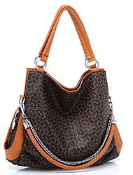 BNT Women's Brown Pu Leather Bone Stripe Vintage Big Capacity Hobos Bag (L39*W13*H33)