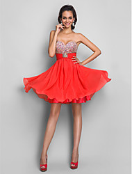Homecoming Sweet 16/Cocktail Party/Homecoming/Prom Dress - Watermelon A-line/Princess Strapless/Sweetheart Short/Mini Chiffon