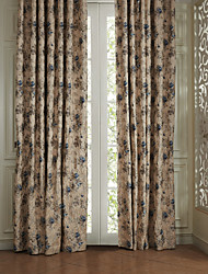 One Pair  Country Blue Petals Energy Saving Curtain