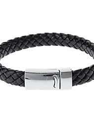 Braided PU Leather Bracelets With Stainless Steel Charm Design Bangles for Men