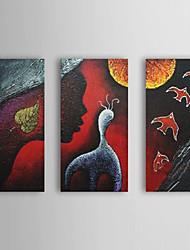 peints à la main peinture à l'huile abstraite comunication avec cadre étiré set de 3 1310-ab1160
