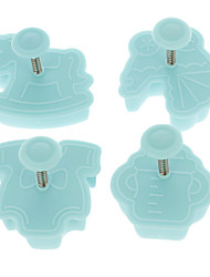 Cookie Cutter êmbolo de corte Pie Crust Mold Biscuit Bebê Set (4pcs/set)
