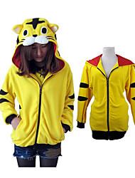 Unisex Polar Fleece Yellow Tiger Kigurumi Hoodie