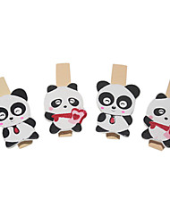 Panda Pattern Wooden Clip(4 PCS)
