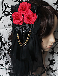 Lolita Jewelry Gothic Lolita Headwear Lolita Red / Black Lolita Accessories Headpiece Floral For Men / WomenSatin / Lace / Artificial