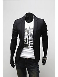 Langdeng Casual Pure Color Slim Suit Coat(Black)