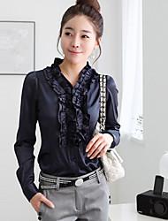 Women's Solid Blue/White Blouse/Shirt Long Sleeve Ruffle