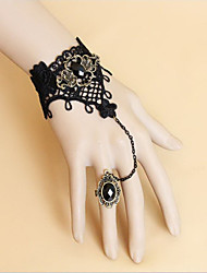 Black Lace Shiny Obsidian Bracelet and Ring Gothic Lolita Accessories Set