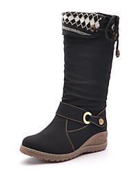Moolecole Women's Black Cowhide Rubber Sole Woolen Warm Comfortable Mid-Calf Boots