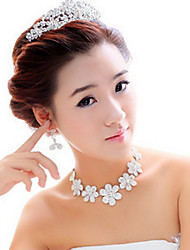 Shining Alloy Silver Plated With Rhinestone Plum Blossom Wedding Bridal Tiara Necklace Earrings Jewelry Set
