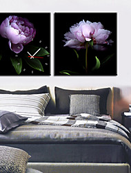 Country Style Purple Rose Wall Clock In Canvas 2pcs