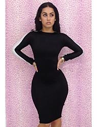 Women's Bodycon Dress,Color Block Crew Neck Knee-length Long Sleeve White / Black / Multi-color Polyester Summer