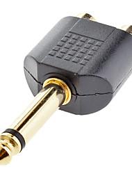 6,35 mm macho a 2 RCA hembra adaptador Negro