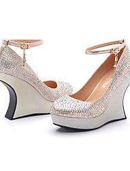 Moolecole женские белые тиснением кожа принцессы стиле платформы клинья обувь