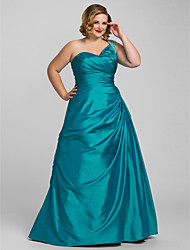 TS Couture Plus Size Prom Formal Evening Quinceanera Dress - Open Back A-line Ball Gown Princess One Shoulder Floor-length Taffeta