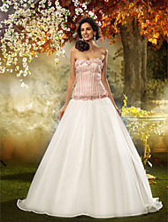 Fit & Flare Strapless Sweep / Brush Train Lace Organza Wedding Dress with Flower by LAN TING BRIDE®
