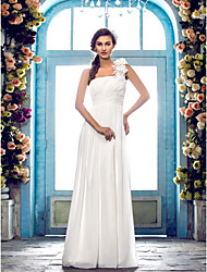 Lanting Bride® Sheath / Column Plus Sizes / Petite Wedding Dress - Classic & Timeless / Elegant & Luxurious Floor-length One Shoulder