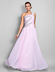 TS Couture Prom Formal Evening Military Ball Dress - Open Back Sheath / Column One Shoulder Floor-length Chiffon withBeading Sequins