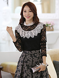 Women's Lace T-shirt Long Sleeve Lace