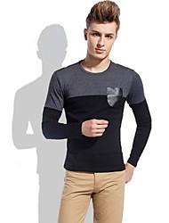 Plaid UOMO colletto rotondo Stitching T-shirt