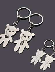 "Gift Groomsman Personalized ""Bears With Tie"" Keychain - Set of 6 Pairs"