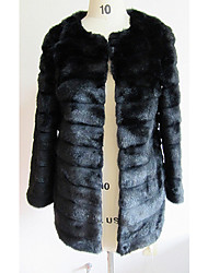 Elegant Long Sleeve Turndown Collar Faux Fur Party/Casual Jacket