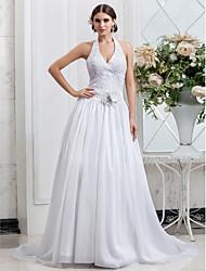 A-line/Princess Plus Sizes Wedding Dress - White Chapel Train Halter Taffeta