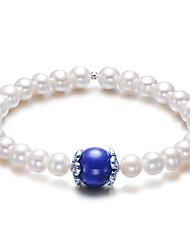 Perle normale de 10 mm de Lapis Lazuli Bracelet élastique de LuckyPearl femmes PB0034WC23256