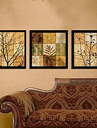 Floral/Botânico Quadros Emoldurados / Conjunto Emoldurado Wall Art,PVC Preto Sem Cartolina de Passepartout com frame Wall Art