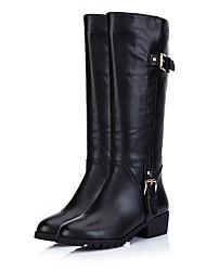 Medd Frauen schwarz PU-Leder Chunky Heel Buckle Army Stiefel (4cm)
