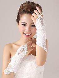Elbow Length Fingerless Glove Elastic Satin Bridal Gloves Party/ Evening Gloves Spring Summer Fall Winter Appliques