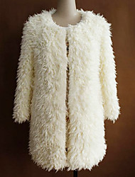 3/4 Sleeve Collarless Faux Fur Party/Casual Coat