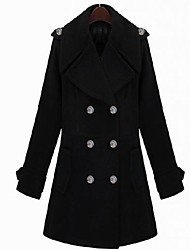 Women's Coat,Solid Long Sleeve Winter Black Wool / Others Thick