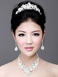 Exquisite Alloy Silver Plated With Rhinestone Wedding Bridal Tiara Necklace Earrings Jewelry Set
